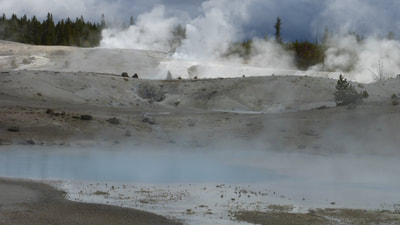 Mounds and mist, Norris Geyser Basin, Yellowstone National Park, Wyoming.